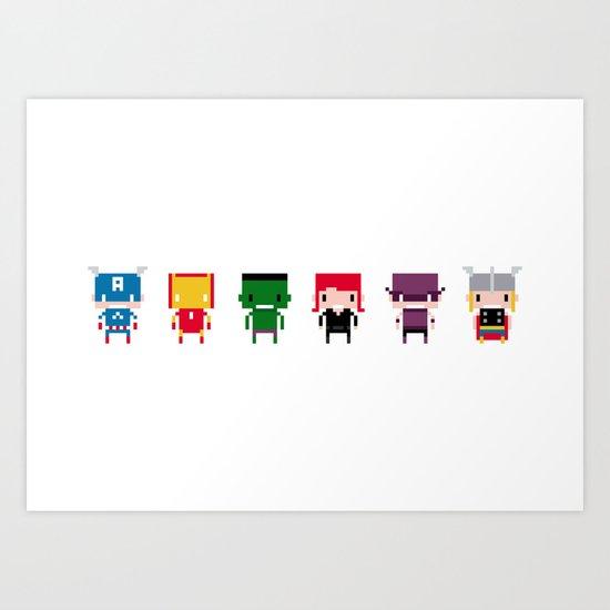 Pixel Avengers Art Print