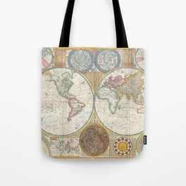 Map of the World in Hemispheres Tote Bag