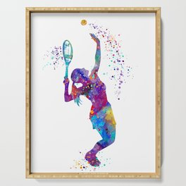 Girl Tennis Watercolor Art Print Sports Nursery Home Decor Kids Room Sports Painting Gifts Serving Tray