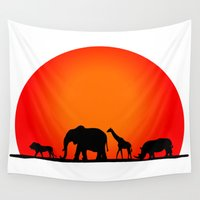 safari Wall Tapestries featuring Animal Safari by Doctor Hue