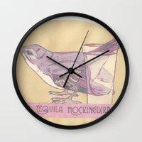 literary Wall Clocks featuring Literary drinks: Tequila Mockingbird by Ruben Alexander