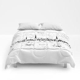 Riga 1544 (black on white) Comforters