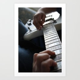 Hands on guitar Art Print