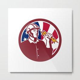 American Lineman USA Flag Icon Metal Print