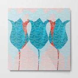 Aqua Tulips Metal Print