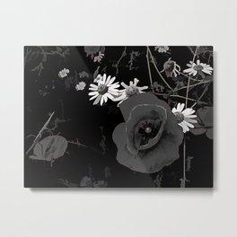 Summer flowers POPPIES, DAIRIES, CORNFOWERS #2 b&w Metal Print