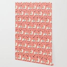 White Llamas in a pink desert Wallpaper