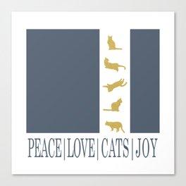 Christmas Gold Cat - PEACE | LOVE | CATS | JOY Canvas Print