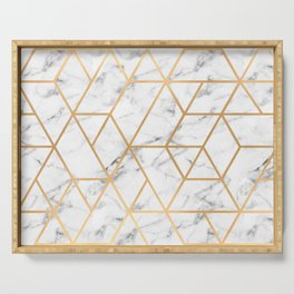 Marble & Gold Geo Lines Serving Tray