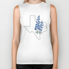texas // watercolor bluebonnet state flower map Biker Tank