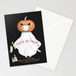 Summon the Halloween Pumpkin Head Cat Stationery Cards