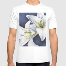White Lilies Mens Fitted Tee White MEDIUM