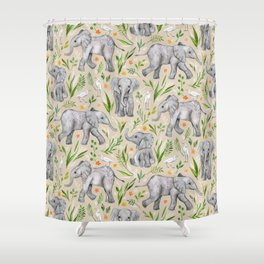 Baby Elephants and Egrets in Watercolor - neutral cream Shower Curtain