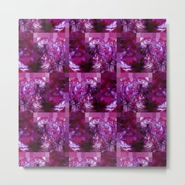 Pink, Red, Purple and White Fluid Pattern with Mosaic Border Metal Print