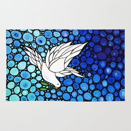 Peaceful Journey - Vibrant white dove by Labor Of Love artist Sharon Cummings. Rug