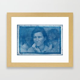 Cyanotype Photo of Dorothea Lange, Migrant Mother, 1936 v2 Framed Art Print