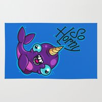 narwhal Area & Throw Rugs featuring Horny Narwhal by Artistic Dyslexia