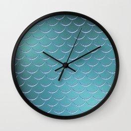 Minimalist Fish Scale Pattern in Iridescent Blue- Green 17 Wall Clock