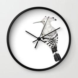 Eurasian hoopoe (black and white) Wall Clock