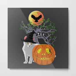 Cat Halloween Boys Metal Print