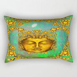 Gold Art Deco  Green Fire Opal Gem Design Rectangular Pillow