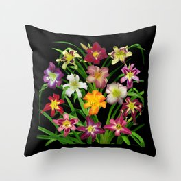 Display of daylilies II on blck Throw Pillow