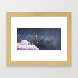 Penguin Lovers and Their New Home in the Stars Framed Art Print