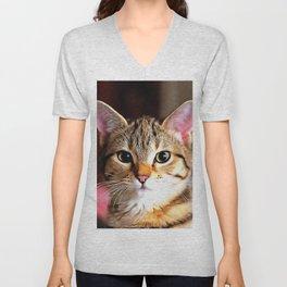 Artistic Tabby Cat Kitten Portrait Unisex V-Neck