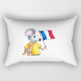 French mouse with bread and flag Rectangular Pillow