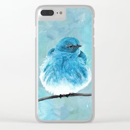 Mountain Bluebird Acrylic Art, Blue Bird Painting, Bird on a Branch, Wall Art, Fluffy Bird Clear iPhone Case