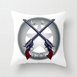 US Marshal Guns and Badge Throw Pillow