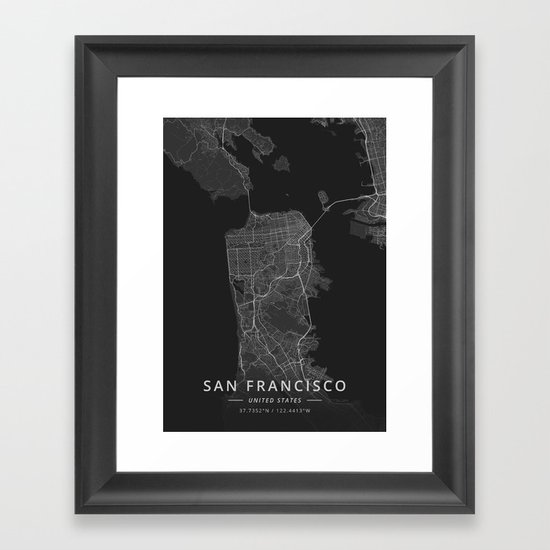 San Francisco, United States - Dark Map by designermapart