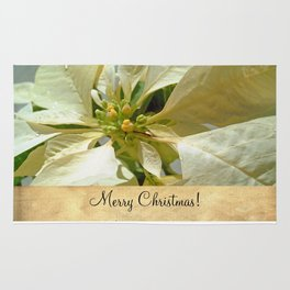 Pale Yellow Poinsettia 1 Merry Christmas S2F1 Rug