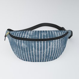 White stripes on grunge textured blue background Fanny Pack