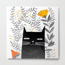black cat with botanical illustration Metal Print