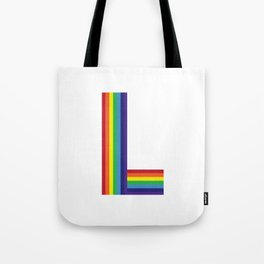 Rainbow Monogram - Letter L Tote Bag