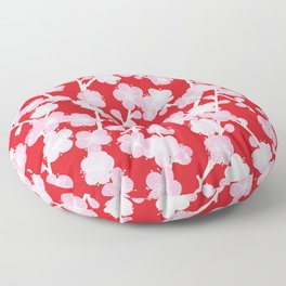 Red Cherry Blossom Pattern Floor Pillow
