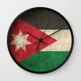 Old and Worn Distressed Vintage Flag of Jordan Wall Clock
