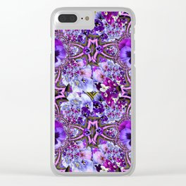 AWESOME GEOMETRIC LILAC PURPLE PANSIES GARDEN ART Clear iPhone Case