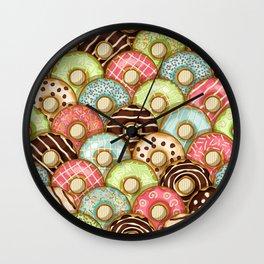 Sweet donuts in glaze Wall Clock