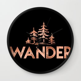WANDER Rose Gold Trees on Black Wall Clock