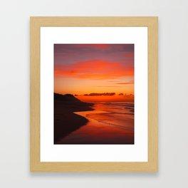Sunset on the coast Framed Art Print