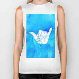 Surf Hang Loose Hawaiian Ocean Blue Hip Watercolor Biker Tank