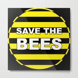 Save The Bees - Stripy Metal Print
