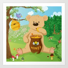 Baer with honey Art Print