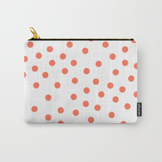 Simply Dots in Deep Coral on White Carry-All Pouch