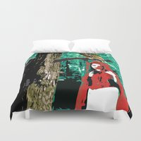 red riding hood Duvet Covers featuring Little Red Riding Hood by Jessica Slater Design & Illustration