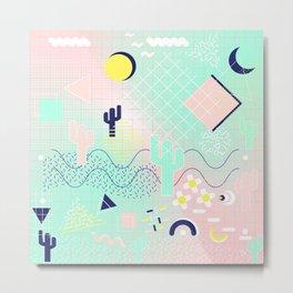 Summer cactus geometric Memphis inspired pattern Metal Print