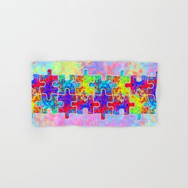 Autism Colorful Puzzle Pieces Hand & Bath Towel