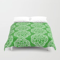 Green white lace floral Duvet Cover